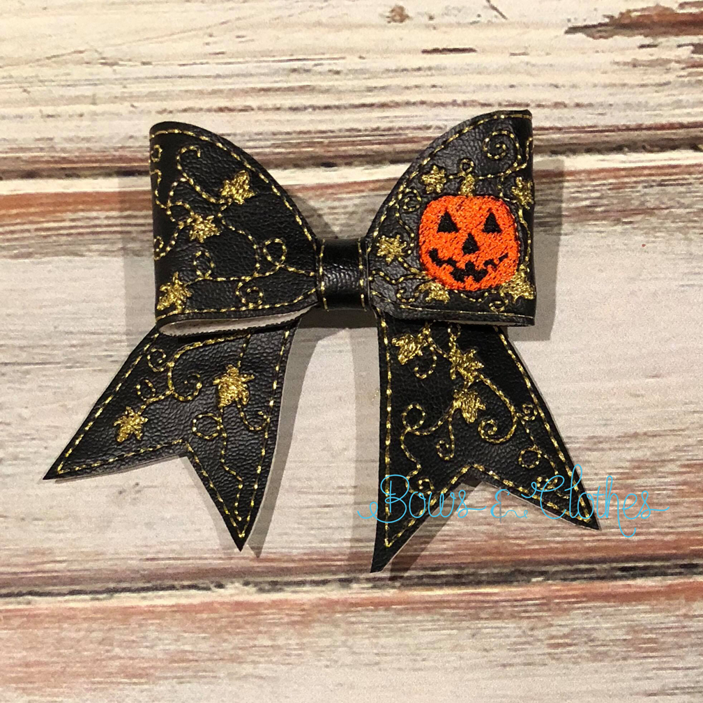 Pumpkin Vines Cheer Bow